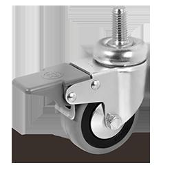 TELLURE Ruota in Gomma c/Codolo Rotante e Freno 80 mm   379103
